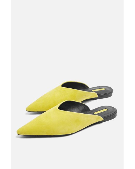 TOPSHOP - Yellow Kilo Pointed Mules - Lyst