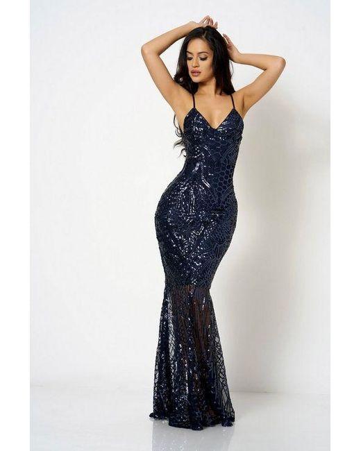 a4907ad678c Club L - Blue sequin Fishtail Maxi Dress By - Lyst ...