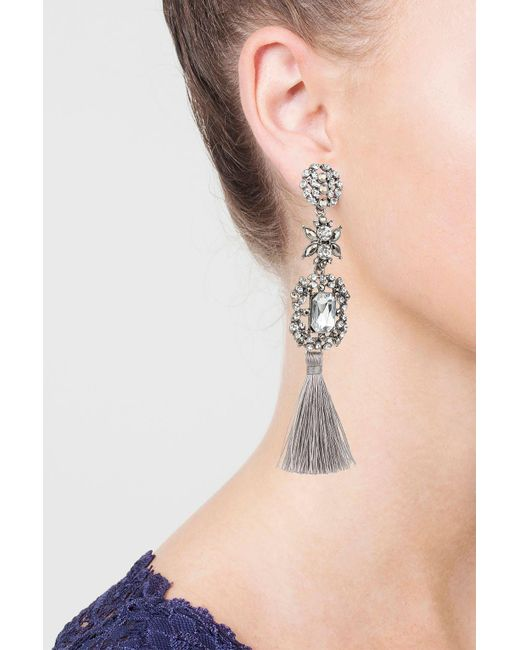 TOPSHOP | Gray Grey Stone And Tassel Drop Earrings | Lyst