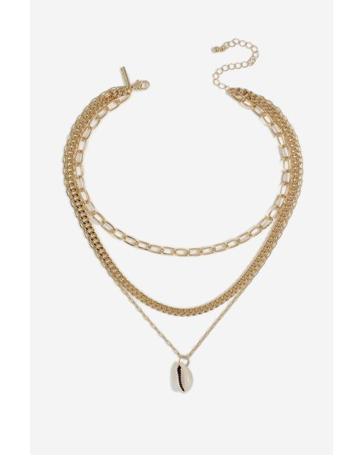 TOPSHOP - Metallic oval Link Shell Drop Necklace - Lyst