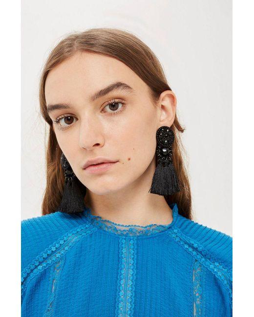 TOPSHOP - Black Tassel Drop Earrings - Lyst