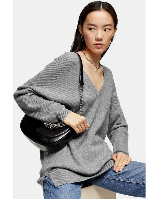 TOPSHOP Gray Grey V Neck Knitted Sweater With Jumper