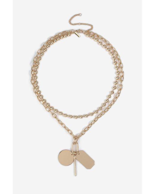 TOPSHOP - Metallic Tag Charm Multirow Necklace - Lyst