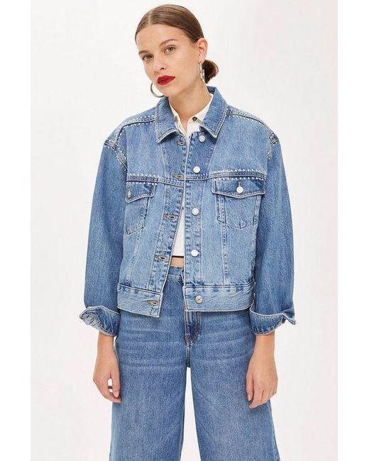 92e61fe89d51c Topshop Studded Oversized Denim Jacket in Blue - Save ...