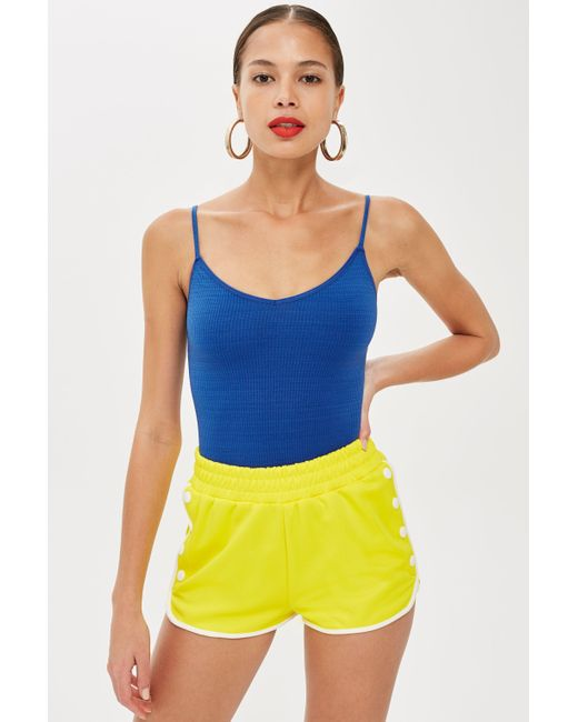 TOPSHOP - Blue Petite Textured Strappy Body - Lyst