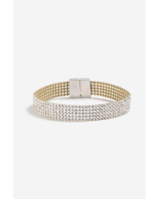 TOPSHOP | Metallic Rhinestone Crystal Bracelet | Lyst
