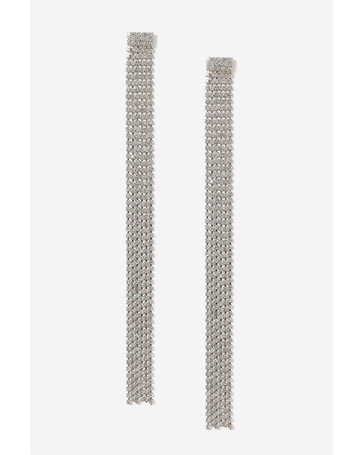 TOPSHOP | Metallic Rhinestone Chain Drop Earrings | Lyst