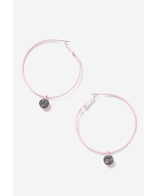 TOPSHOP | Pink Rhinestone Hoop Earrings | Lyst
