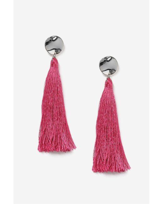 TOPSHOP | Pink Stud Tassel Drop Earrings | Lyst