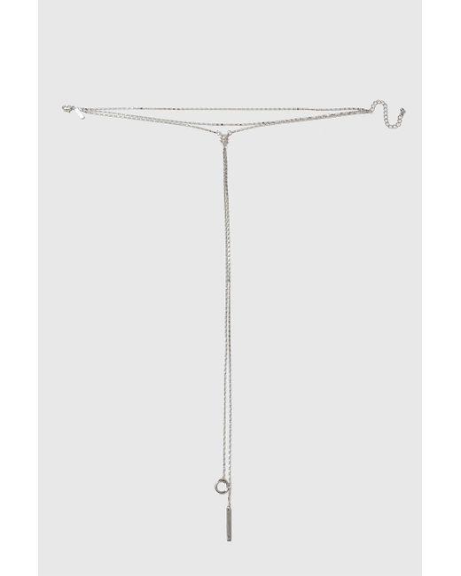 TOPSHOP | Metallic Long Front Choker Necklace | Lyst