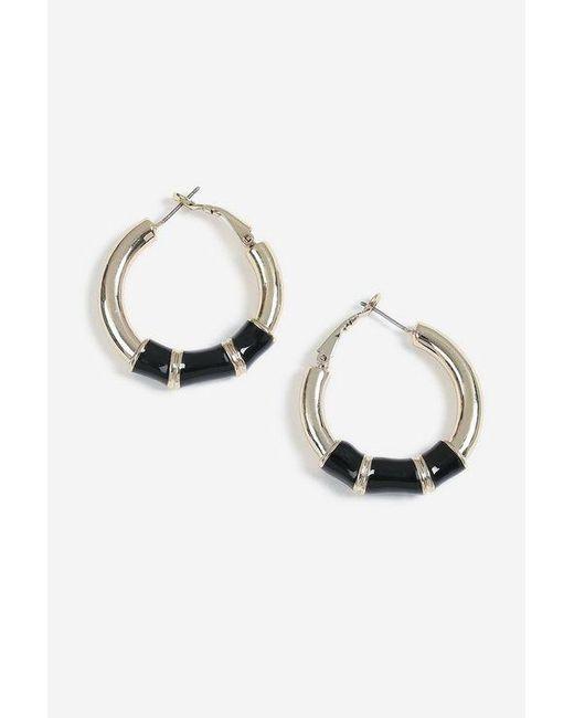 TOPSHOP - Black Bamboo Enamel Inlay Hoop Earrings - Lyst
