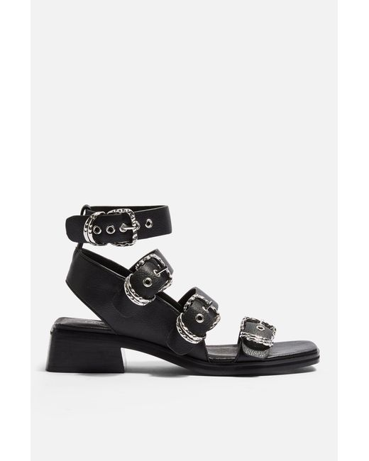 641b12992875 ... TOPSHOP - Victory Black Leather Buckle Sandals - Lyst ...