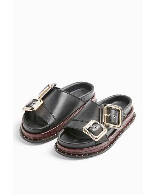 TOPSHOP Pia Black Buckle Footbed Sandals