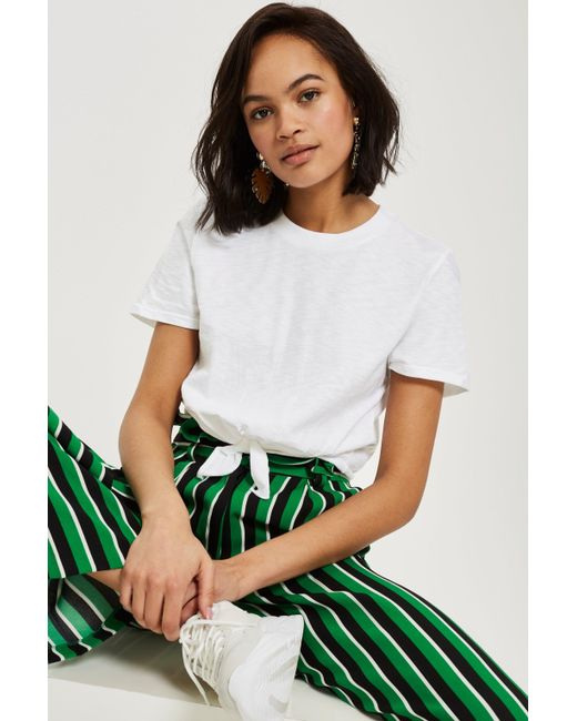 TOPSHOP - White Knot Front T-shirt - Lyst