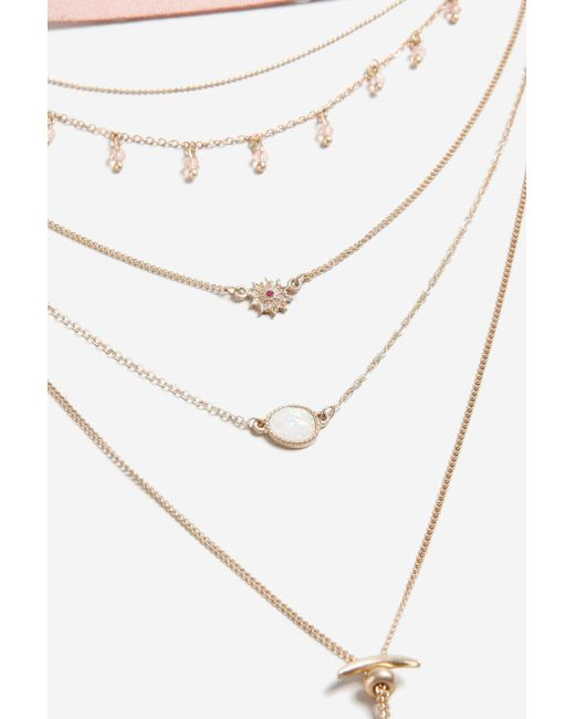 TOPSHOP | Pink Bolo Multirow Necklace | Lyst