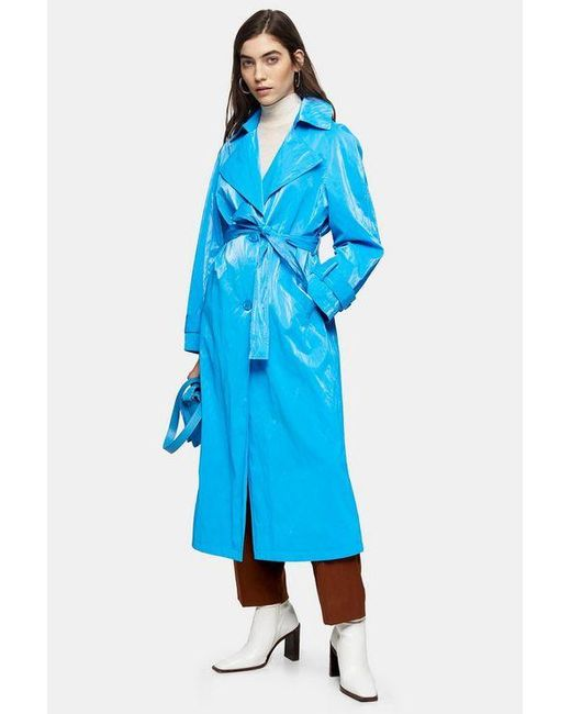 TOPSHOP Bright Blue Pu Trench