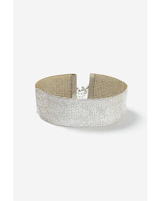 TOPSHOP | Metallic Wide Glam Rhinestone Choker Necklace | Lyst