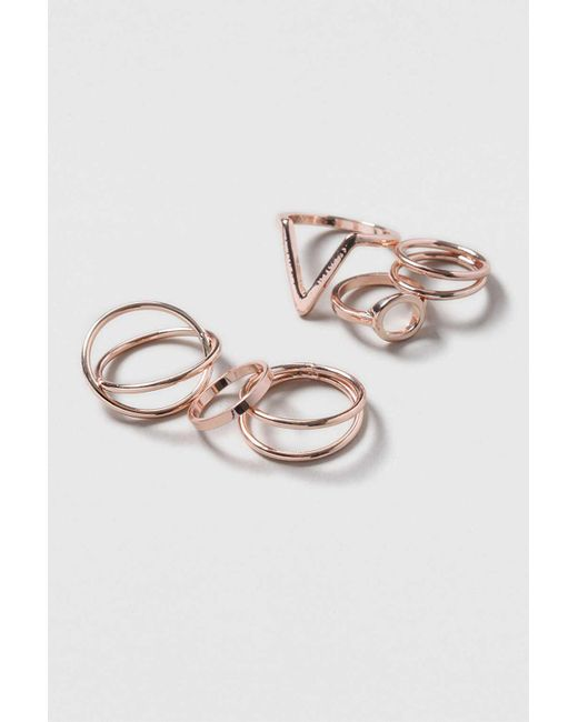TOPSHOP | Metallic Shape And Twist Ring Pack | Lyst