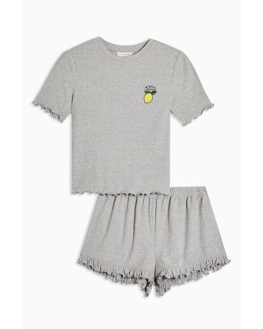 TOPSHOP Yellow Grey 'bitter Sweet' Pyjama Set