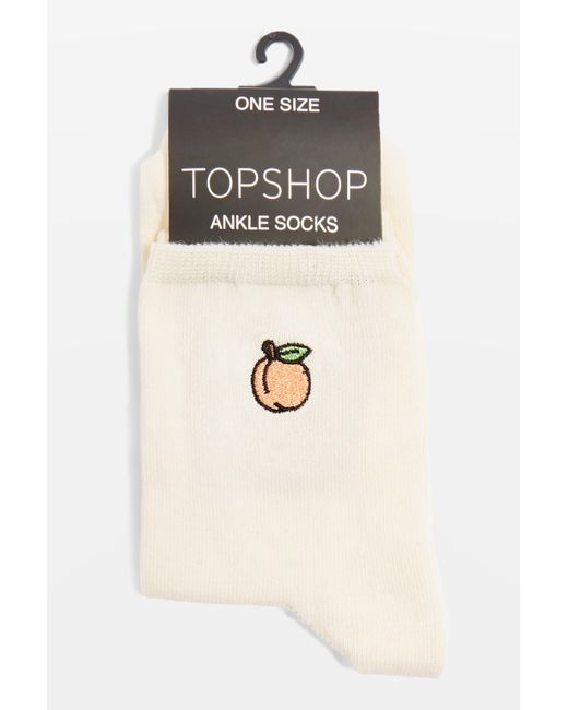 TOPSHOP - Natural Embroidered Peach Ankle Socks - Lyst