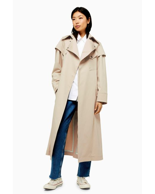 edf24fe8505c TOPSHOP - Natural Ultimate Editor Trench Coat - Lyst ...