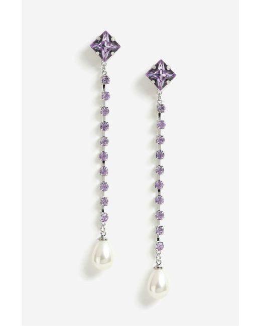 TOPSHOP | Metallic Rhinestone And Pearl Drop Earrings | Lyst