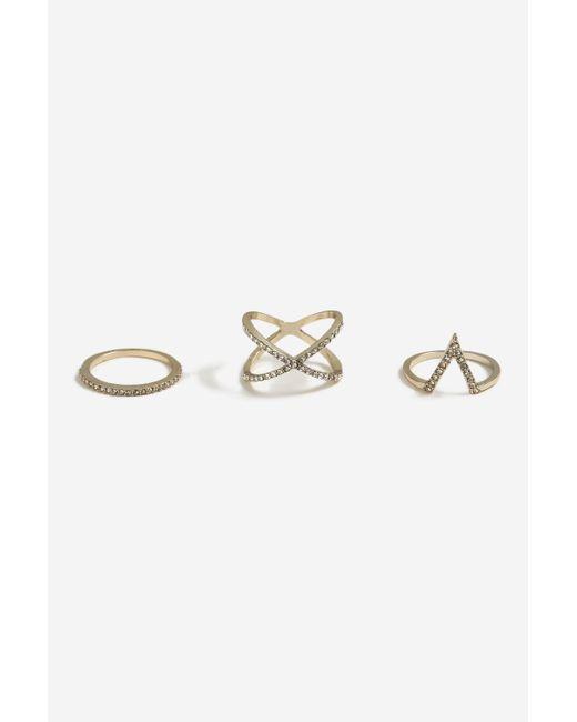 TOPSHOP - Metallic rhinestone Shape Ring Pack - Lyst