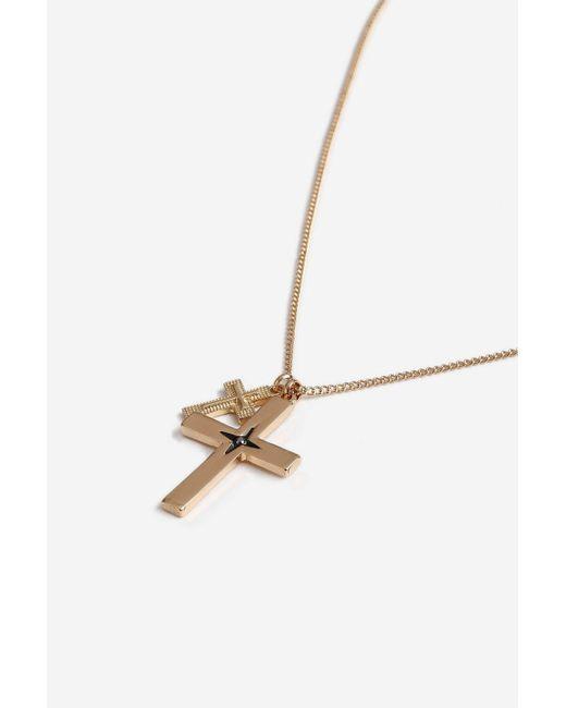 TOPSHOP - Metallic Double Cross Necklace - Lyst