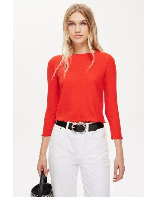 c53311e5e2 TOPSHOP - Red Long Sleeve Waffle Top - Lyst ...