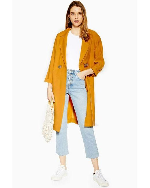 TOPSHOP Yellow Ustard Duster Coat With Linen