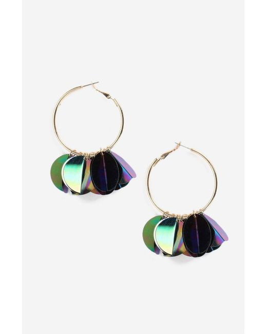 TOPSHOP - Purple Sequin Cluster Hoop Earrings - Lyst