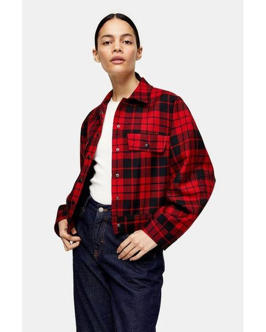TOPSHOP Red Check Ovoid Jacket By Boutique
