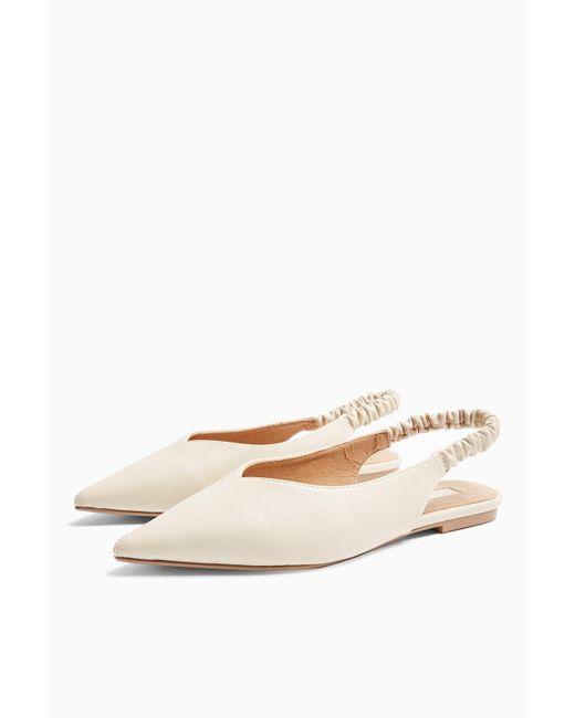 TOPSHOP White wide Fit Apple Ecru Ruched Slingback Shoes
