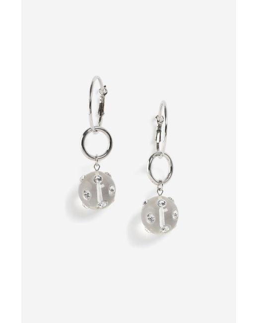 TOPSHOP - Metallic Hoop Drop Gem Earrings - Lyst