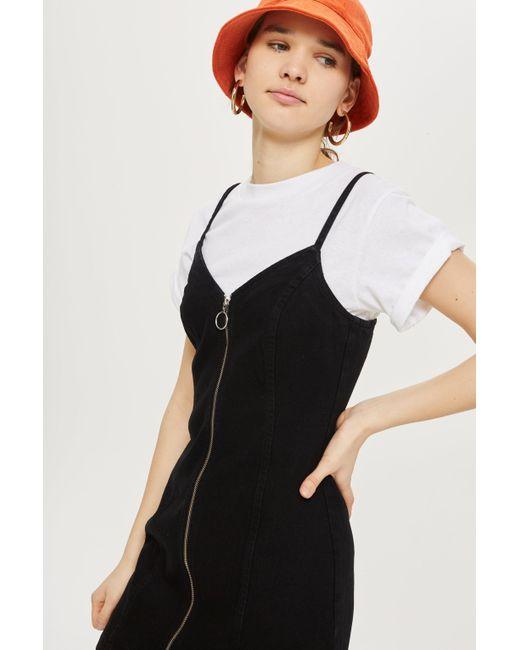 TOPSHOP - Black Tall Corduroy Zip-up Dress - Lyst