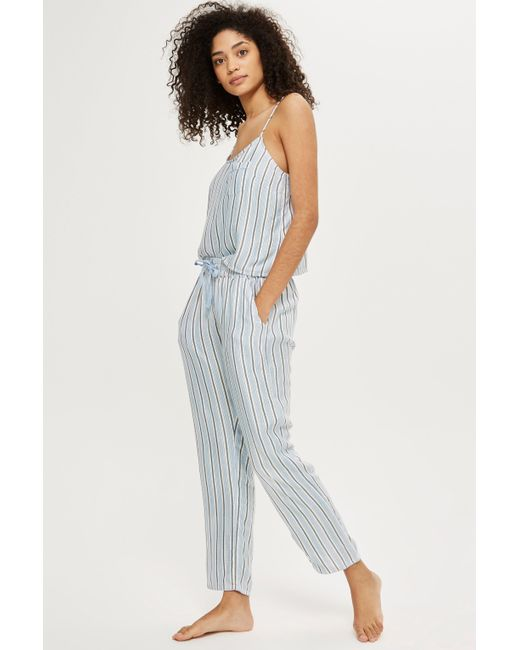TOPSHOP Blue Brushed Striped Pyjama Trousers