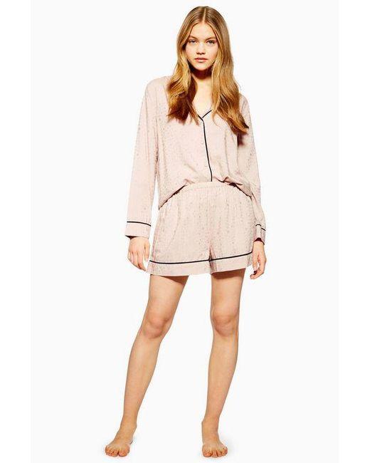 TOPSHOP Pink Jacquard Star Pyjama Shorts