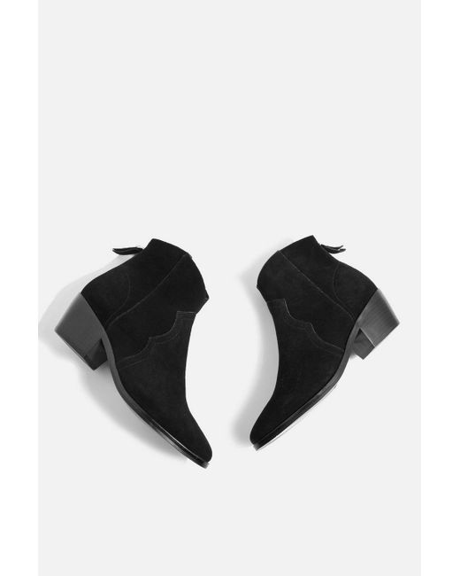 TOPSHOP - Black Betty Western Ankle Boots - Lyst