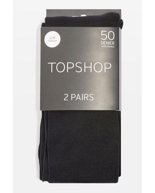 TOPSHOP | Black 50 Denier Tights 2 Pack | Lyst