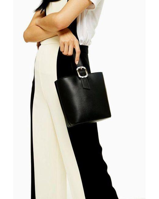 TOPSHOP Tilt Black Tote Bag With Buckle