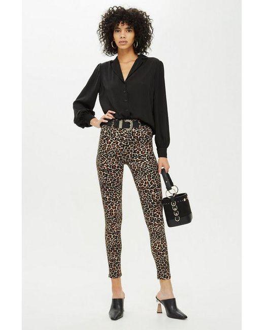 Lyst Satin Leopard Jeans Brown In Print Topshop Jamie nO0Px