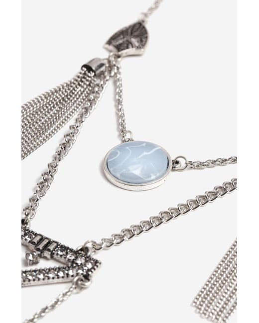 TOPSHOP - Metallic Opal And Tassel Ladder Necklace - Lyst