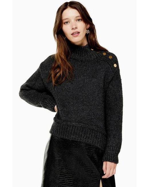 TOPSHOP Gray Grey Knitted Button Shoulder Sweater