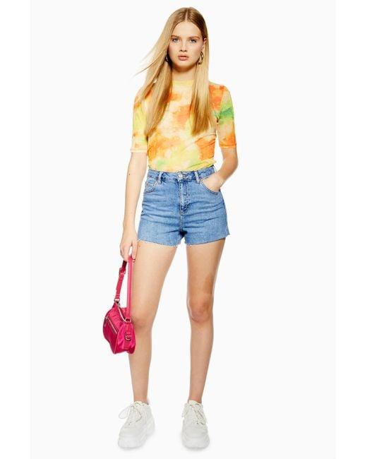 TOPSHOP Blue Premium Denim Mom Shorts