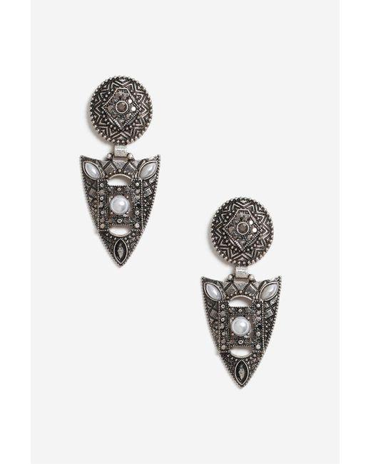 TOPSHOP   Brown Rhinestone Shield Drop Earrings   Lyst