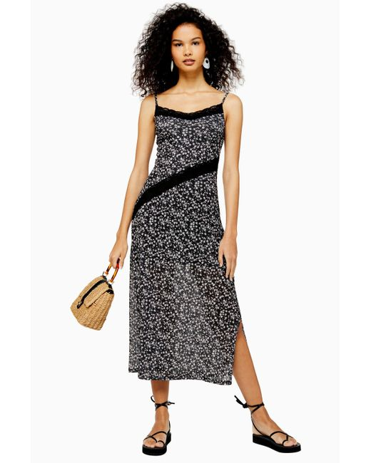 TOPSHOP Black Floral Lace Sleeveless Dress