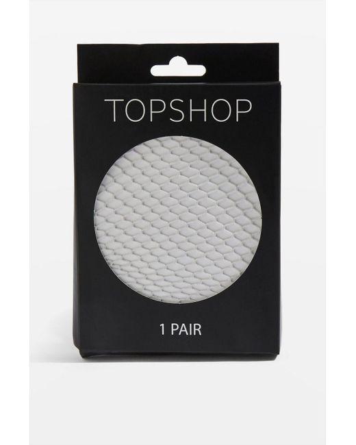 TOPSHOP - Gray Medium Fishnet Tights - Lyst