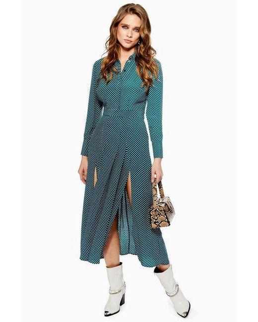 d0fe0fc6b1f TOPSHOP Petite Spot Pleat Shirt Dress in Green - Save 49% - Lyst