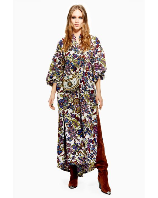 TOPSHOP - White Mixed Floral Maxi Dress - Lyst
