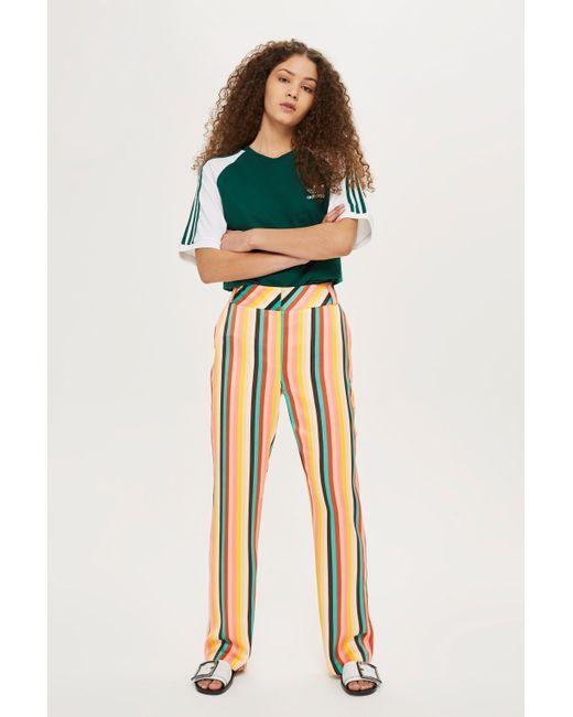 6e869e856e TOPSHOP - Multicolor Rainbow Striped Wide Leg Trousers - Lyst ...